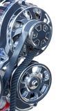 Alternador y correa en un motor del alto rendimiento Foto de archivo libre de regalías