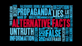 Alternate facts animated word cloud. On a black background stock video footage
