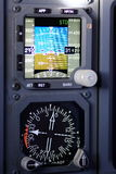 Alternate Flight instrument. Modern aircraft instrument, these are alternate attitude and compass,pilots will depend these in case normal instruments failure Stock Photography