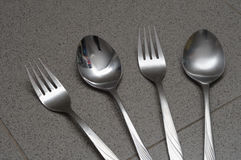 Alternate fork and spoon Royalty Free Stock Images