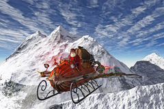 Alternate Santa flying in Sleigh Stock Photography