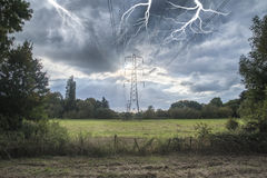 Alternate solar power concept landscape image of lightning hitti Royalty Free Stock Photos