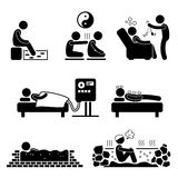 Alternate Therapies Medical Treatment Stick Figure. A set of pictograms representing the alternate therapies for sickness and diseases Royalty Free Stock Photography