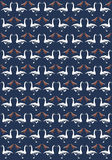 Alternated Swan Gooses and red Doves on Blue Paper Stock Images