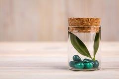 Alternatieve geneeskunde met groen blad Stock Foto