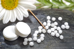Alternatieve geneeskunde met kruidenpillen Stock Foto's