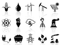 Alternatieve geplaatste Energiepictogrammen Stock Fotografie