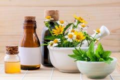 Alternatieve gezondheidszorg verse kruiden, honing en wilde bloem met stock afbeeldingen