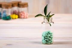 Alternatieve groene geneeskunde met blad in glascontainer Stock Foto's