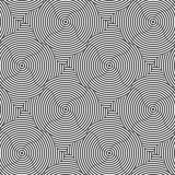 Alternating black and white wavy circle striped squares Stock Images
