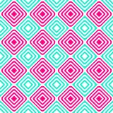 Alternating blue pink squares seamless pattern. Geometric diamond squares grid alternating. Concentric shapes, diagonal chess layout Stock Image