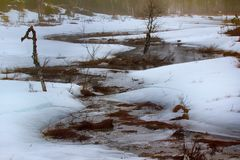 alternation of daytime thaw and night frosts - Creek Stock Image