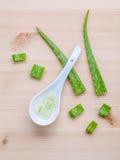 Alternativ aloe vera för hudomsorg stelnar i träskedar med aloe Royaltyfria Bilder