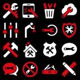 Alternativ och uppsättning för servicehjälpmedelsymbol Royaltyfria Foton