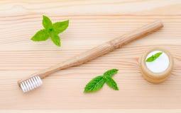 Alternativ wood tandborste och xylitol, sodavatten, pulver som är salt, mintkaramell på trä Royaltyfri Bild