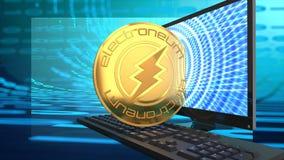 Alternativa di Bitcoin, electroneum, denaro elettronico cyber illustrazione di stock
