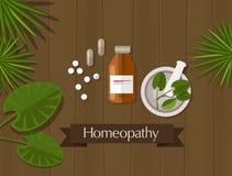 Alternativa naturale della medicina di erbe di omeopatia Immagini Stock