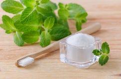 Alternativa naturliga tandkrämxylitol, sodavatten som, är salta, och wood tandborste, mintkaramell på trä arkivbilder