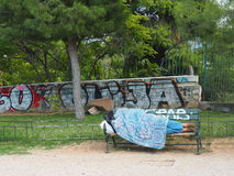 Athens in the cold - destitution Royalty Free Stock Image