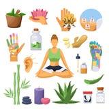 Alternative chinese medicine and treatment symbols. Vector isolated flat illustration. royalty free illustration