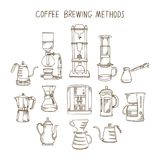 Alternative coffee brewing methods big illustration set. Collection of  percolators. Pots and kettles in sketch style. Hand drawn design elements for cafe menu Stock Photography
