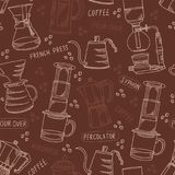 Alternative coffee brewing methods brown and beige vector seamless pattern. Alternative coffee brewing methods seamless pattern with percolators, coffee beans Stock Photo