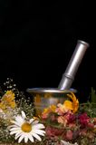 Alternative cosmetics. An image of mortar and flowers Stock Image