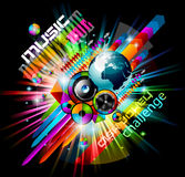 Alternative Discoteque Music Flyer. With Attractive Rainbow Colours and an explosion of colurs and lights Stock Photos