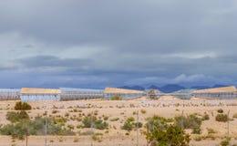 Alternative electricity energy solar collector on Arizona desert. Renewable energy power generation regenerative reflection economy station sun technology stock photos