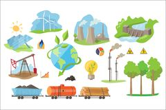 Alternative electricity production icons. Environmentally eco-friendly sources of power. Flat vector elements stock illustration