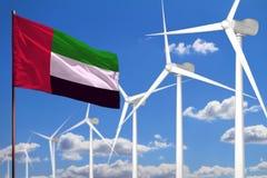Alternative Energie Arabische Emirates, industrielles Konzept der Windenergie mit Windmühlen und industrielle Illustration der Fl stockfotografie