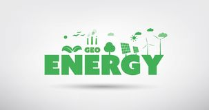 Alternative Energie, Weisen der Ökostrom-Generation - Konzept-Animation stock video footage