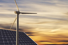 Alternative energies. Concept wind wind generator, solar cell Stock Photography