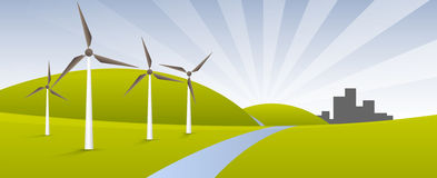 Alternative Energy. Windmills in landscape. Earth friendly alternative energy concept. Gh Designs Royalty Free Stock Image