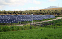 Alternative energy. Installation of photovoltaic panels in the country Royalty Free Stock Image