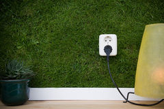 Alternative energy. Energy concept outllet in grass Stock Image