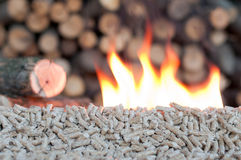 Alternative energy. Pellets in  flames- selective focus on the heap Stock Photography