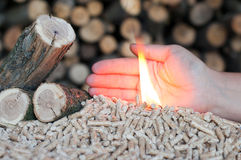 Alternative energy. Pellets in female hands and flames Stock Photo