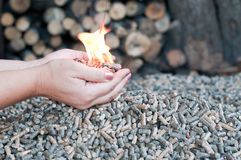 Alternative energy. Pellets in flames in female hands Royalty Free Stock Photo
