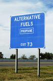 Alternative Energy. Highway sign telling of the availability of propane gas Royalty Free Stock Photo