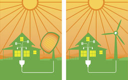 Alternative energy. A pair of alternative energy illustrations showing solar and wind energy Stock Photography
