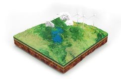 Free Alternative Energy Concept Illustration. Plot Of Land With Layers 3d Rendering Stock Photo - 158598730