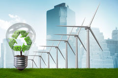 The alternative energy concept with windmills - 3d rendering Stock Photos