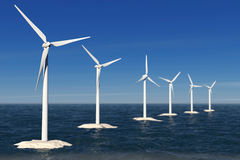 Alternative Energy Concept. Windmills in the Ocean. 3d Rendering Royalty Free Stock Photo
