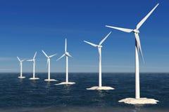 Alternative Energy Concept. Windmills in the Ocean. 3d Rendering Stock Photos