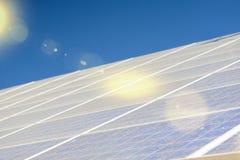 Alternative Energy Concepts: Solar Panels Array Against Blue Sky Royalty Free Stock Photos