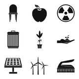 Alternative energy icon set, simple style. Alternative energy icon set. Simple set of 9 alternative energy vector icons for web design isolated on white Royalty Free Stock Images