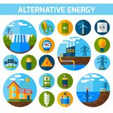 Alternative Energy Icons Set Stock Photos