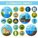 Alternative Energy Icons Set. Alternative atom water solar energy icons flat set isolated vector illustration stock illustration