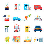 Alternative Energy Icons Set. With cars and bicycles symbols flat isolated vector illustration Royalty Free Stock Image
